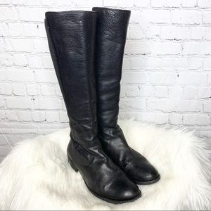 Frye Molly Gore Black Leather Tall Riding Boots